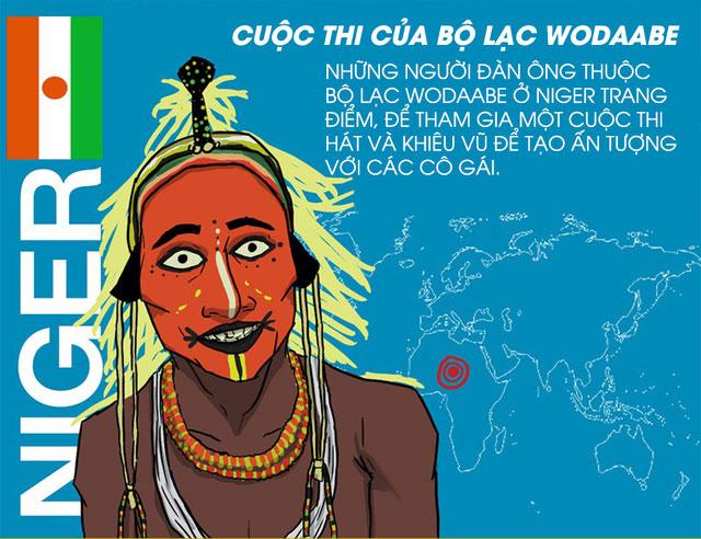 Đàn ông thuộc bộ lạc Wodaabe trang điểm, hát... để tạo ấn tượng với các cô gái.