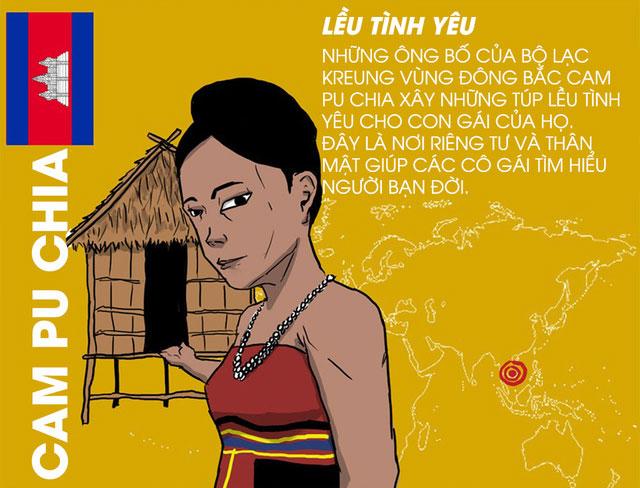 Tại Campuchia, lều tình yêu là nơi riêng tư và thân mật của các cô gái tìm hiểu người bạn đời.