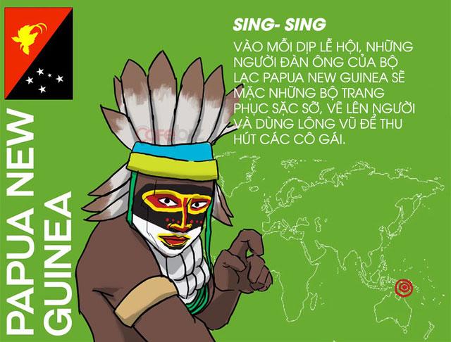 Mỗi khi lễ hội ở Papua New Guinea, những người đàn ông sẽ mặc trang phục sặc sỡ để thu hút các cô gái.