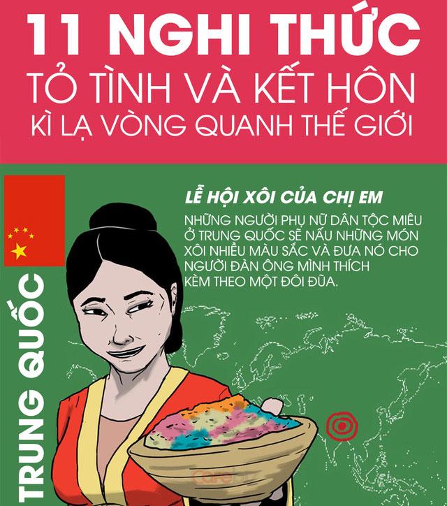 Đối với dân tộc Miêu ở Trung Quốc, người phụ nữ sẽ nấu xôi nhiều màu và đưa nó cho người đàn ông mình thích.