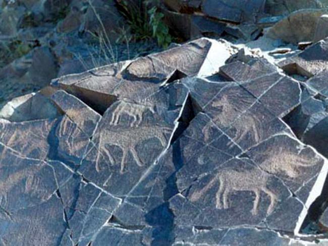 Những bức tranh khắc đá hình động vật được cho là những bức tranh có niên đại cổ xưa nhất xuất hiện trong khu vực
