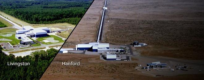 Toàn cảnh hai phòng thí nghiệm đặt LIGO tại Livingston, Lousiana và Hanford, Washington, Mỹ.