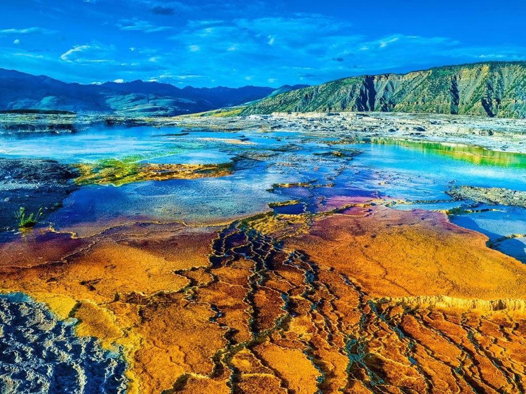 Cũng nằm trong công viên quốc gia Yellowstone, cụm suối nước nóng Mammoth có hơn 50 suối. Các khe nứt nhỏ đưa nước qua hệ thống đứt gãy trong nền đá của khu vực. Suối có màu sắc rực rỡ nhờ tảo sống trong nước.