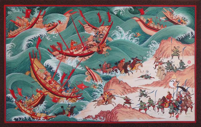 Chiến thuật giả thua rồi đột ngột phản công của quân Mông Cổ được tái hiện qua tranh.