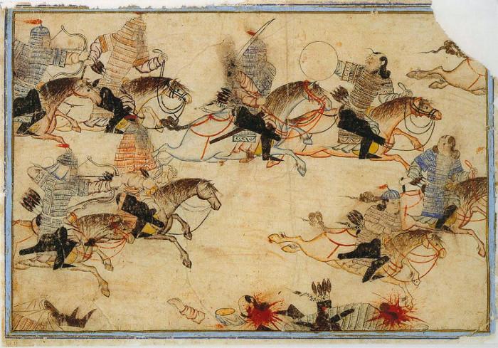 Bức tranh tái hiện một trận đánh của quân Mông Cổ.
