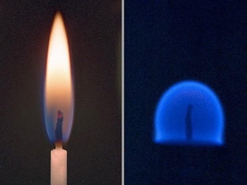 16. Bên trái là hình ảnh ngọn nến cháy tại Trái Đất, còn bên phải là trong môi trường không trọng lượng.