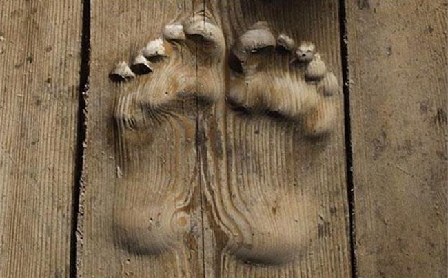 Hai dấu chân rõ ràng in trên tấm gỗ