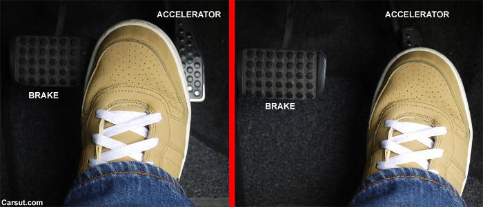 Nhấc chân ra khỏi chân ga ngay lập tức chuyển sang chân phanh để tạo thói quen kiểm soát tốc độ của xe.