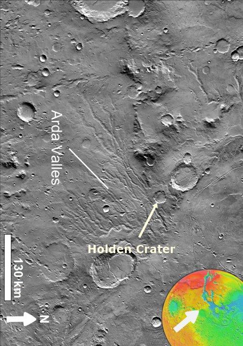 Khu vực Ladon Valles nằm ngay phía dưới thung lũng Arda Valles và có dạng hình cầu