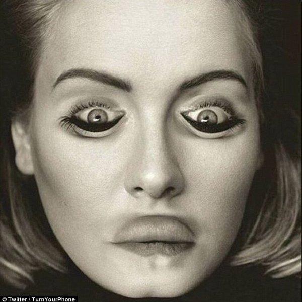 Sự thật là khi bức ảnh được lật ngược lại, khuôn mặt của Adele đã biến dạng một cách... thảm hại.