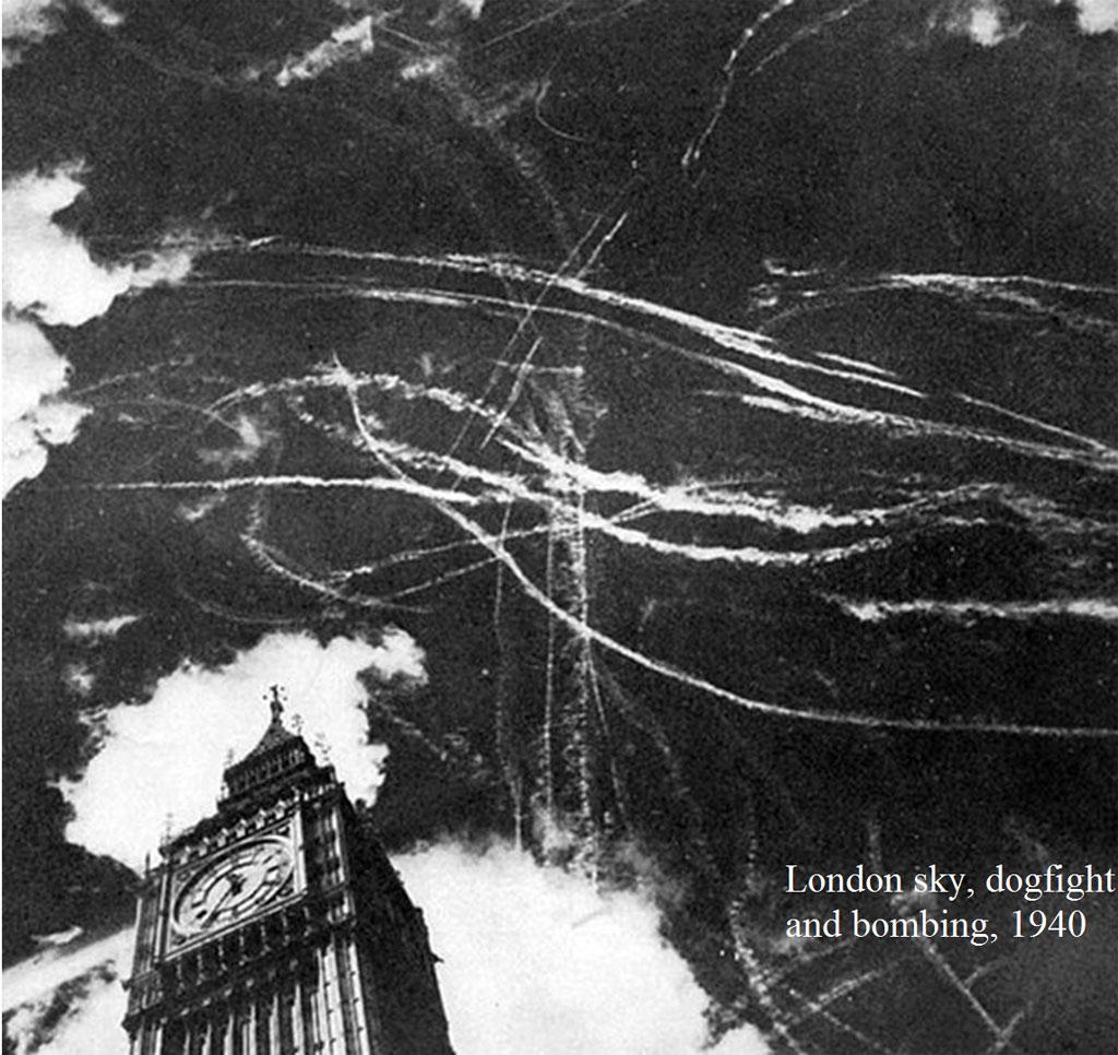 Bầu trời của London khi trận không chiến giữa Anh và Đức Messerschmitt Spitfire đang diễn ra