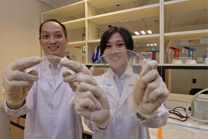 Phó giáo sư Thian Eng San (trái) và nhà nghiên cứu Tan Yi Min (phải) cùng loại màng polyme họ đang nghiên cứu.