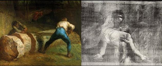 Người ta phát hiện ra bên dưới bức tranh hoàn chỉnh là hình vẽ bức tượng La Republique nổi tiếng ở Pháp.