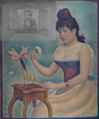 Trong bức tranh, một người phụ nữ đang ngồi trang điểm.