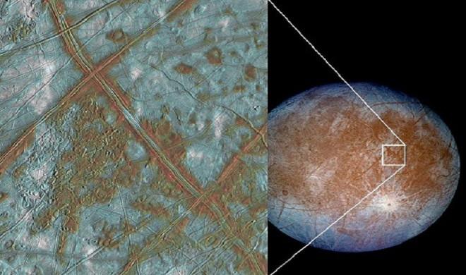 Những vân màu nâu trên bề mặt vệ tinh Europa được cho là nước lỏng ấm thấm ra từ bên trong lớp vỏ của nó.
