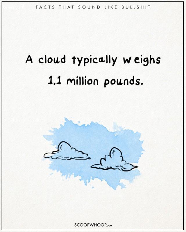 Một đám mây trung bình nặng 1,1 triệu pound (gần nửa tấn)