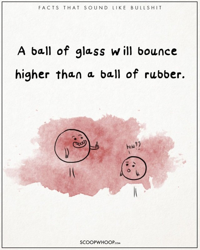 Một quả bóng thủy tinh sẽ nẩy cao hơn một quả bóng cao su