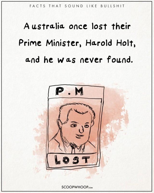 Thủ tướng Úc bị mất tích. Ông đã đi bơi tại bãi biển Cheviot, Victoria, và không bao giờ được nhìn thấy một lần nào nữa. Ông được cho là đã chết vào ngày 17 Tháng 12 1967.