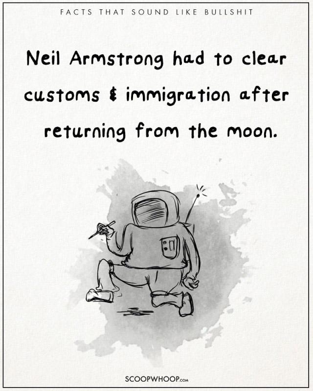 Neil Armstrong đã phải làm thủ tục nhập cảnh sau khi trở về từ mặt trăng.