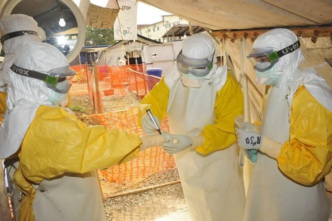 Nhân viên y tế điều trị cho bệnh nhân Ebola tại bệnh viện Donka ở Conakry, Guinea.