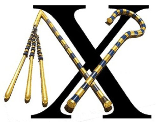 Kí tự X có nguồn gốc chính từ hình ảnh hai chiếc néo và chiếc móc bắt chéo với nhau và đó là biểu tượng của cái chết và sự tái sinh