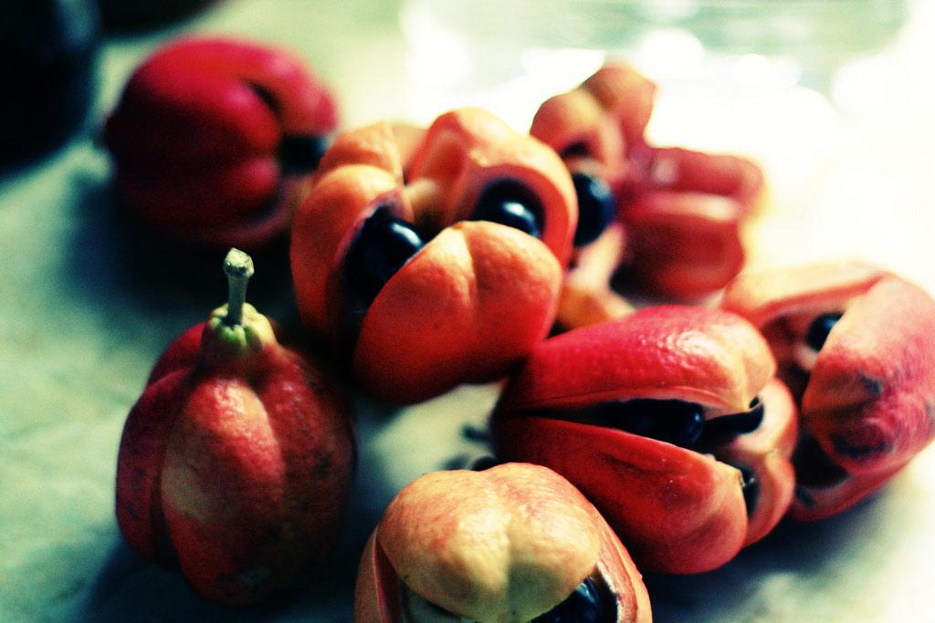 Quả e-ki (ackee) có nguồn gốc ở khu vực nhiệt đới vùng Tây Phi, trái cây này được nhập khẩu vào Jamaica và bây giờ trở thành một phần quan trọng trong văn hóa vùng Caribe.