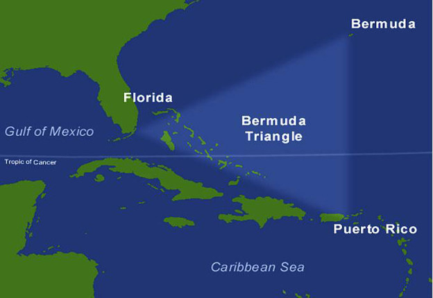 Tam giác Bermuda ở tây bắc Đại Tây Dương.