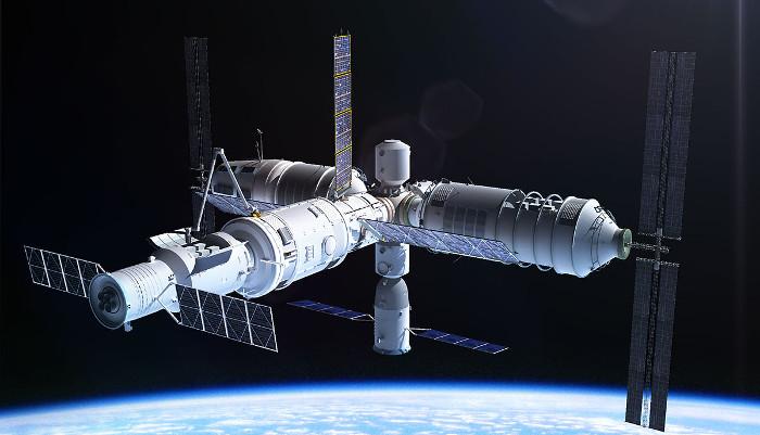 Hình đồ họa kính viễn vọng không gian trên trạm vũ trụ Tiangong-3.