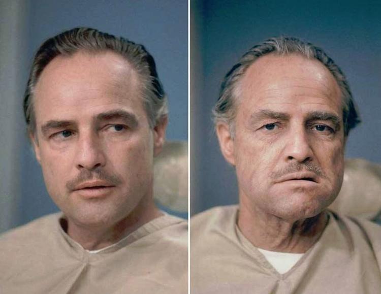 Marlon Brando trước và sau khi trang điểm để trở thành nhân vật chính trong phim the Godfather