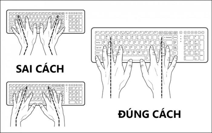 Với bàn phím, duỗi thẳng cánh tay khi gõ. Để làm được điều này bạn cần đặt các ngón tay lên bàn phím hợp lý hơn.