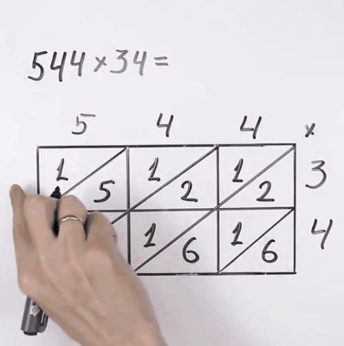 Chỉ cần cộng các số theo dãy hàng chéo là ra kết quả