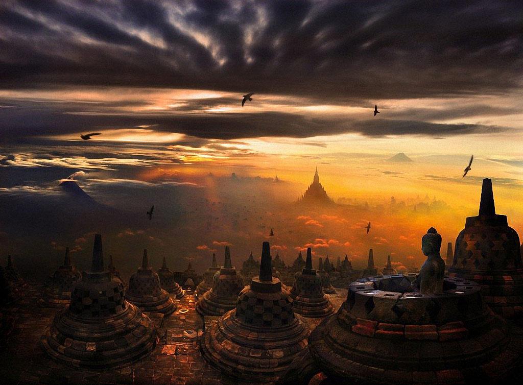 Chùa Borobudur trên núi tại đảo Java, Indonesia khi đàn chim trở về tạo nên khung cảnh huyền ảo cho cõi Phật.