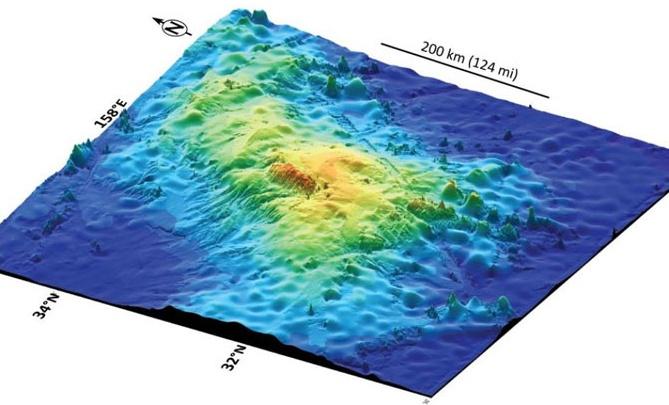 Bản đồ núi lửa Tamu Massif lập bằng phép đo độ sâu dưới biển.