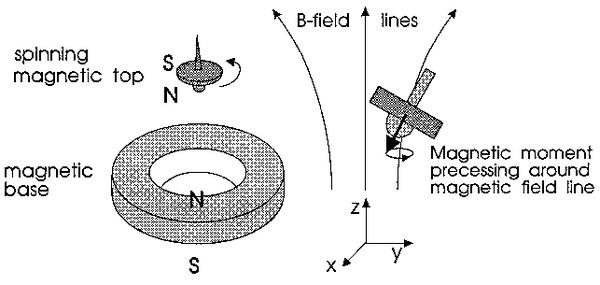 Nam châm lớn và đỉnh quay của con quay cùng cực với nhau.