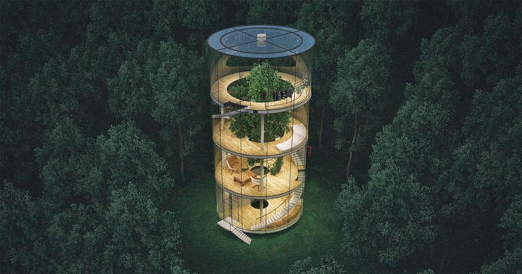 Ngôi nhà hình trụ cao bao trùm cây xanh, với toàn bộ bề mặt là kính trong suốt.