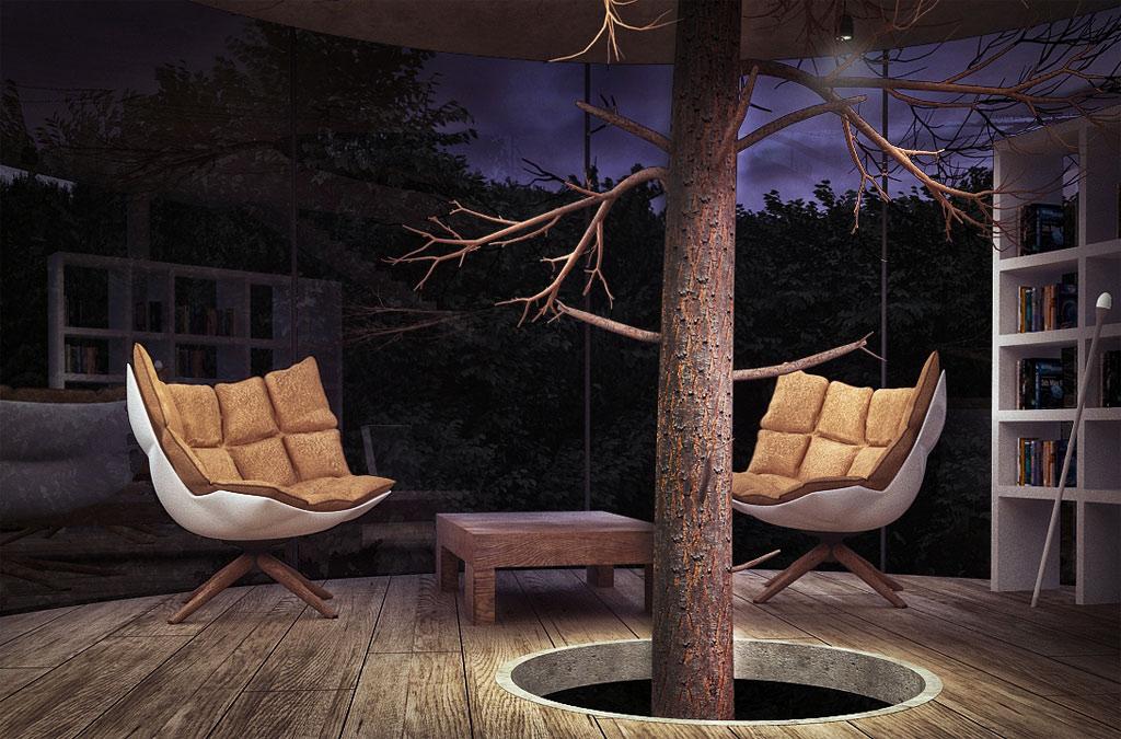 Phòng khách đơn giản, ấm áp và thân thiện.
