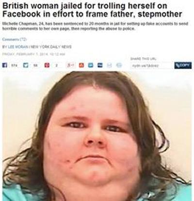 Tại Anh, một người phụ nữ đã bị phạt 20 tháng tù giam vì tạo profile Facebook giả mạo để gửi thông điệp có nội dung xấu