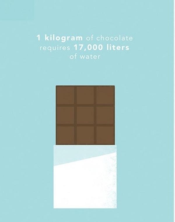 Để sản xuất ra 1 kg sô cô la cần tới 17 000 lít nước. Lượng nước này đủ để lấp đầy một bể bơi gia đình.