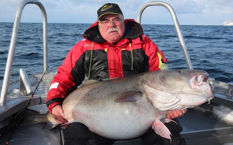 Cụ ông Bert Williams ôm con cá tuyết nặng hơn 42 kg.