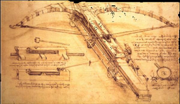 Một trong các bản vẽ chế tạo của Da Vinci