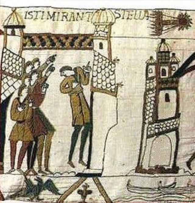 Một đoạn của Thảm thêu Bayeux thể hiện sao chổi Halley xuất hiện vào năm 1066