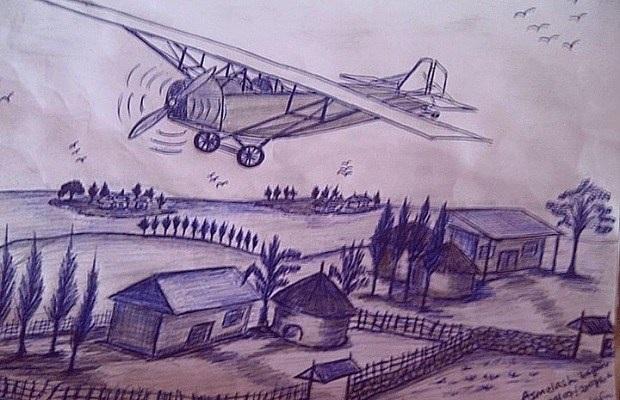 Bản vẽ mô phỏng chiếc máy bay tự chế của Zerefu.