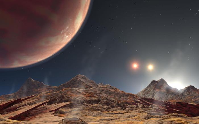 Hình mô phỏng hành tinh có hệ ba Mặt Trời đầu tiên được phát hiện HD 1885 Ab, giống với KELT-4Ab.