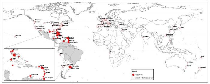 Bản đồ dự đoán khu vực ảnh hưởng của virus Zika trên toàn thế giới trong mùa hè này.