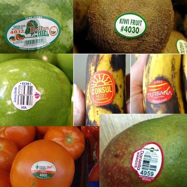 Đa số các loại trái cây và thực phẩm đều có mã số với bốn chữ số và bắt đầu với chữ số 3 và 4.