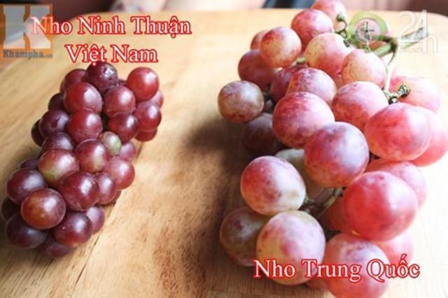 Nho Việt Nam (trái) và nho Trung Quốc (phải) có sự khác biệt rõ rệt về màu sắc.