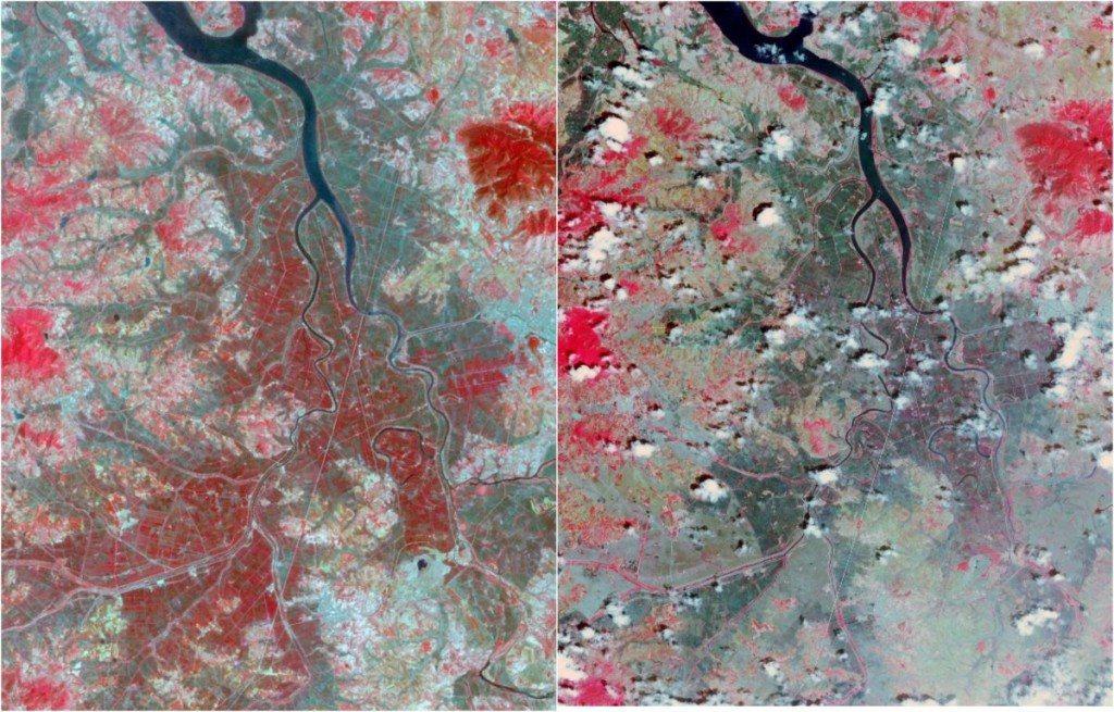 Triều Tiên trải qua một trong những trận hạn hán tồi tệ nhất vào năm 2015 (ảnh phải). Thảm thực vật (màu đỏ) tại đây giảm hẳn so với năm 2002 (ảnh trái).