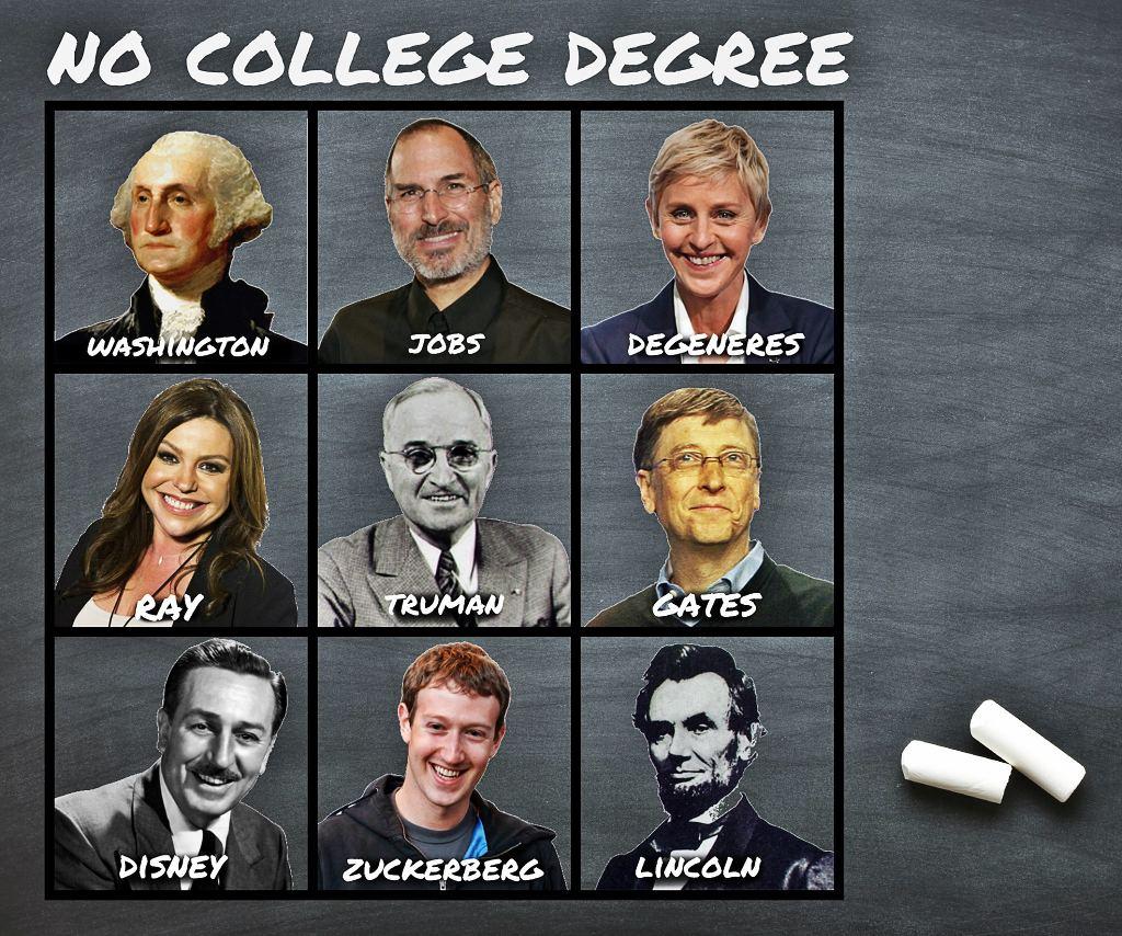 Abraham Lincoln, Walt Disney, Bill Gates, Mark Zuckerberg, Henry Ford, Thomas Edison, Steve Jobs... tất cả trong số họ không có bằng đại học.
