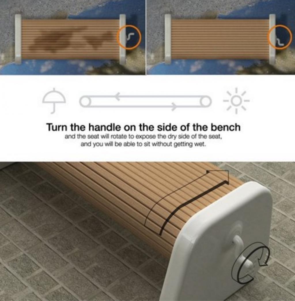 Chiếc ghế thanh cuốn sẽ ngăn chặn nỗi lo về những hàng ghế đá ẩm ướt những ngày mưa. Được thiết kế như một chiếc thang cuốn, mỗi khi ghế ướt, bạn chỉ cần vặn chiếc tay cầm bên cạnh để có thể chuyển đổi chiếc ghế sang mặt bên kia, nơi không bị ảnh hưởng bởi nước mưa.