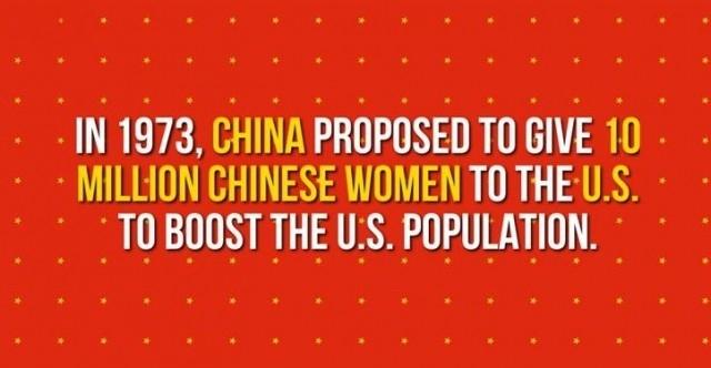 Năm 1973, Trung Quốc đã đề xuất để đưa 10 triệu phụ nữ Trung Quốc đến Mỹ để tăng dân số Hoa Kỳ.